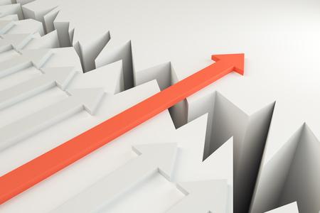 Flèche surmontant l'écart. Concept de réussite, de croissance et de solution. Rendu 3D