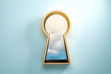 Blue wall with golden keyhole window and sky view. Access and success concept. 3D Rendering Фото со стока