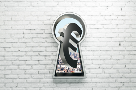 Keyhole with silver euro sign on brick wall background. Money concept. 3D Rendering