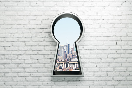 Brick wall with silver keyhole window and city view. Access and success concept. 3D Rendering