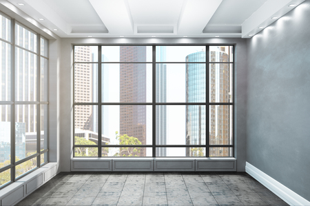 Luxury unfurnished interior with New York city Central park view. 3D Renderind Zdjęcie Seryjne