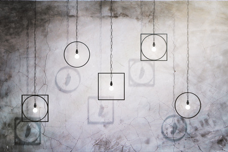 Creative lamps on concrete wall background. 3D Rendering