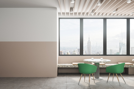 Contemporary cafe interior with empty copyspace, furniture and panoramic New York city view. Mock up, 3D Rendering Stock Photo - 116138011