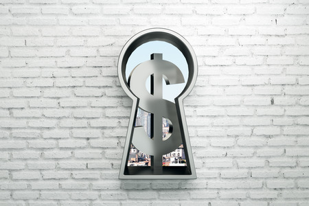Keyhole with silver dollar sign on brick wall background. Money concept. 3D Rendering Banque d'images - 116138107