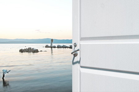 Opening white door with creative lake view. Holiday concept. 3D Rendering