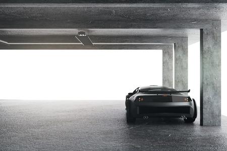 스포츠카가 있는 가벼운 차고. 전송 및 스타일 개념입니다. 3D 렌더링