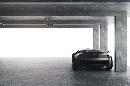 Light garage with sports car. Transport and style concept. 3D Rendering