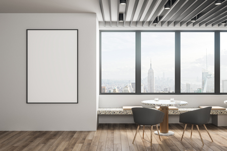 Contemporary cafe interior with empty poster, furniture and panoramic New York city view. Mock up, 3D Rendering Banque d'images - 116138359