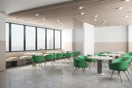Luxury cafe interior with panoramic new york city view, daylight and furniture. Design concept. 3D Rendering