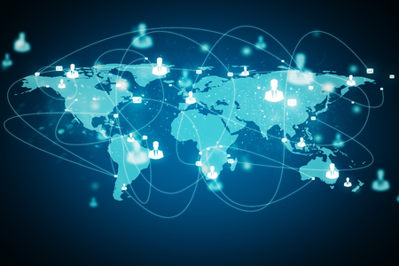 Digital map with connection on glowing blue background. Worldwide and network concept. 3D Rendering Stock Photo
