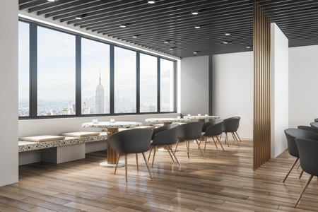 Contemporary restaurant interior with panoramic new york city view, daylight and furniture. Design concept. 3D Rendering Zdjęcie Seryjne - 116138774