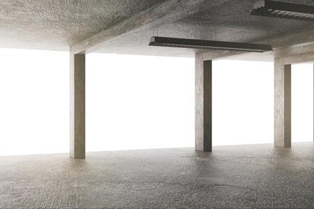 Bright concrete garage interior with columns. 3D Rendering Banco de Imagens - 116138777