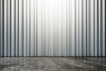 Closed white curtains with copy space. Theater concept. 3D Rendering Stock fotó - 116139001