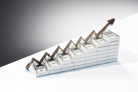 Abstract dollar ladder with arrow. Financial growth and money concept. 3D Rendering Stock Photo