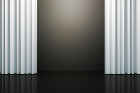 White curtains with copy space. Theater concept. 3D Rendering Banco de Imagens