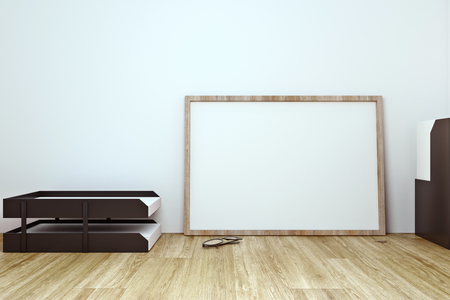Empty frame on office desktop with supplies and concrete wall background. Mock up, 3D Rendering Stockfoto
