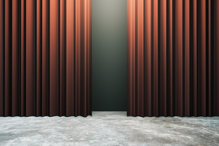 Red curtains with copy space. Theater concept. 3D Rendering