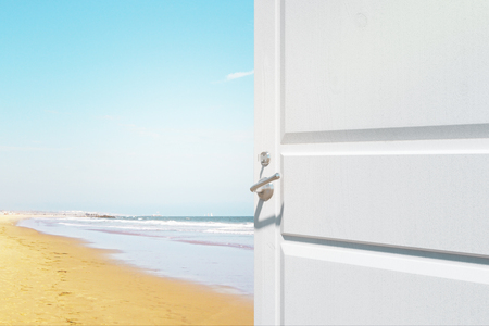 Opening white door with creative seaside view. Holiday concept. 3D Rendering