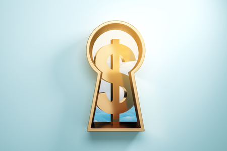 Keyhole with golden dollar sign on blue background. Money concept. 3D Rendering