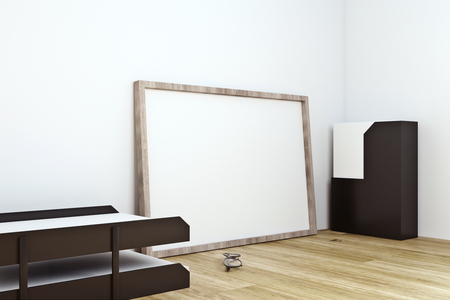 Side view of clean frame on office desktop with supplies and concrete wall background. Mock up, 3D Rendering