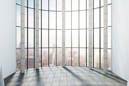Empty office interior with panoramic New York city view and sunlight. 3D Rendering