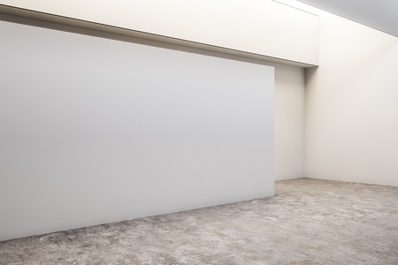 White concrete exhibition hall interior with copyspace and gray floor. Gallery concept. Mock up, 3D Rendering