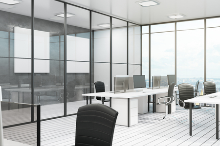 Bright coworking office interior with city view, furniture and daylight. 3D Rendering