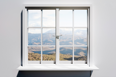 Creative window with landscape view. Home and design concept. 3D Rendering
