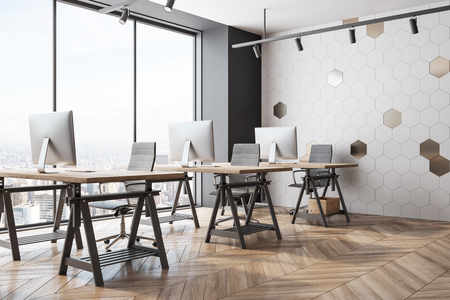 Bright coworking office interior with panoramic New York city view and daylight. 3D Rendering Zdjęcie Seryjne
