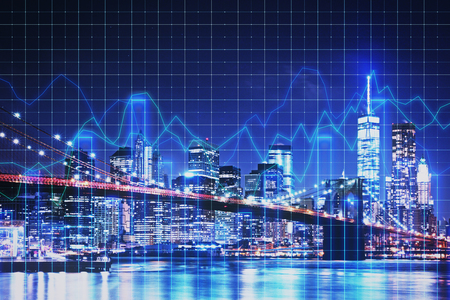 Creative glowing blue night new york city background with grid forex chart. Trade and stock concept. Double exposure Stock Photo