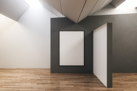 Clean concrete exhibition hall interior with empty copyspace and wooden floor. Gallery and museum concept. Mock up, 3D Rendering