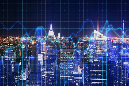 Creative glowing blue night new york city background with grid forex chart. Trade and finance concept. Double exposure