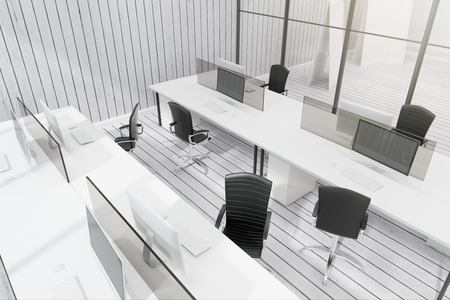 Modern white coworking office interior with glass partition and furniture. 3D Rendering
