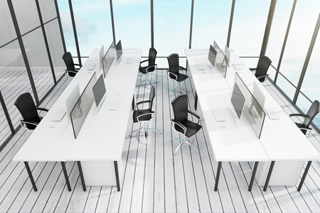 Light coworking office interior with city view, furniture and daylight. 3D Rendering