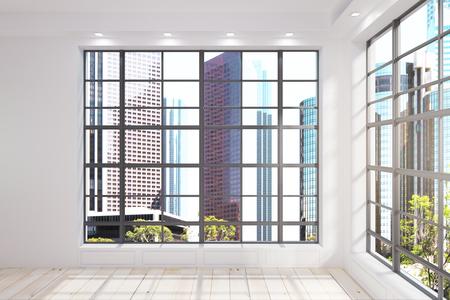New unfurnished interior with New York city Central park view. 3D Renderind Reklamní fotografie