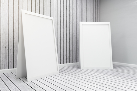 Close up of empty white posters in wooden interior. Gallery concept. Mock up, 3D Rendering