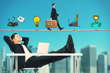 Side view of young businessman relaxing at desk on abstract blue sky and blurry city background with business drawing. Marketing and success concept