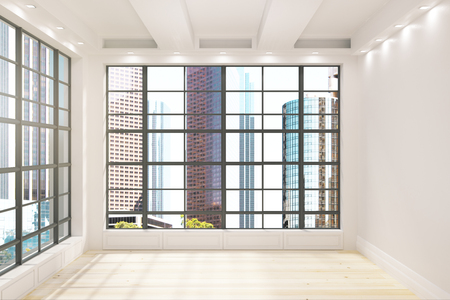 Contemporary unfurnished interior with New York city Central park view. 3D Renderind Zdjęcie Seryjne