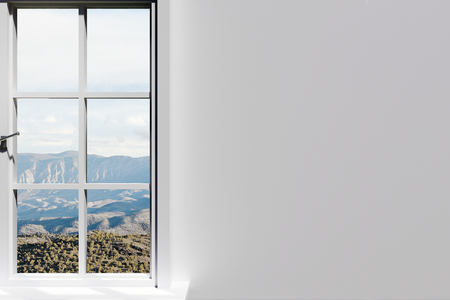 Creative window with landscape view and copy space on concrete wall. Home and design concept. 3D Rendering Stock Photo
