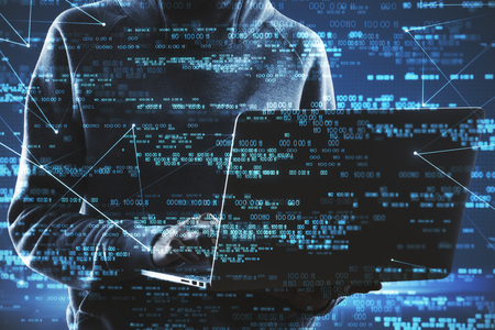 Hacker holding laptop with abstract blue digital number interface. Cyberspace and malware concept. Double exposure Stock Photo
