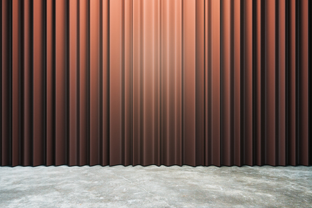 Closed red curtains with copy space. Theater concept. 3D Rendering