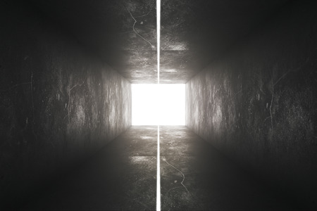 Dark concrete tunnel interior with abstract lighting. 3D Rendering