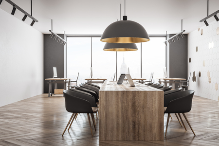 Light coworking office interior with panoramic New York city view and daylight. 3D Rendering