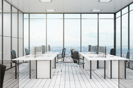 White coworking office interior with city view, furniture and daylight. 3D Rendering
