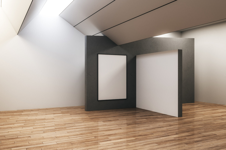 Modern concrete exhibition hall interior with empty frame and wooden floor. Gallery and museum concept. Mock up, 3D Rendering