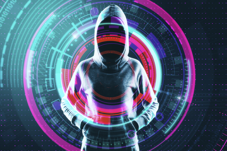 Young hacker with digital button on blue background. Hacking and innovation concept. Double exposure