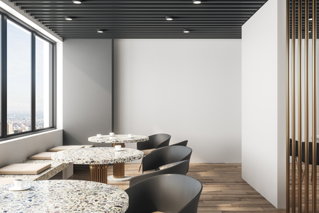Bright restaurant interior with panoramic new york city view, daylight and furniture. Design concept. 3D Rendering