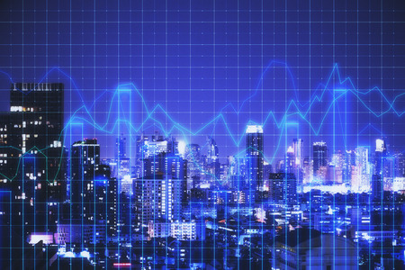 Creative glowing blue night new york city background with grid forex chart. Trade and marketing concept. Double exposure Stock Photo - 117202046