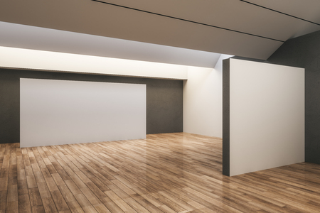 Light concrete exhibition hall interior with empty copyspace and wooden floor. Gallery and museum concept. Mock up, 3D Rendering