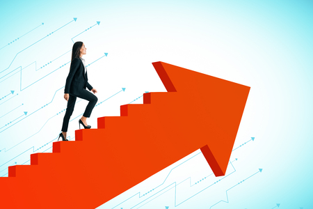 Young businesswoman climbing abstract red arrow ladder on sky background. Career promotion and success concept.
